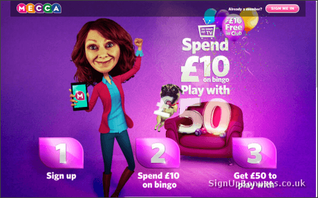 Mecca Bingo £50 New Account Bonus Page