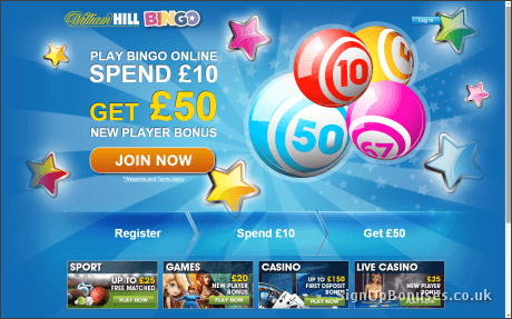 William Hill £50 Bingo Bonus Screenshot