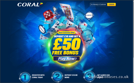 Coral Casino £50 Joining Bonus Page