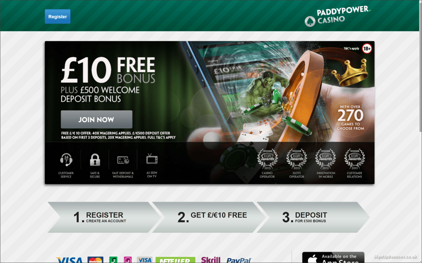 paddy power casino bonus code