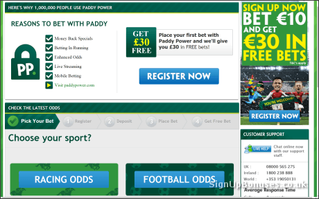 Paddy Power £30 Free Bet Page