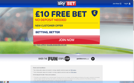 £10 Free Bet with Sky Bet