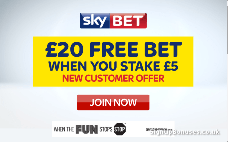 £20 Free Bet with Sky Bet