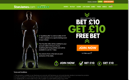 Stan James £20 Free Bet Page