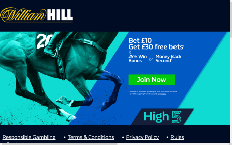 William Hill £30 Free Bet Screenshot