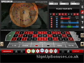 Screenshot of the live roulette interface