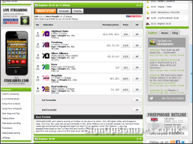 Screenshot of the horse racing markets.