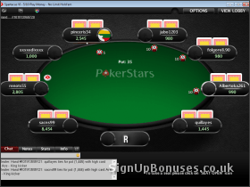 Screenshot of the poker interface