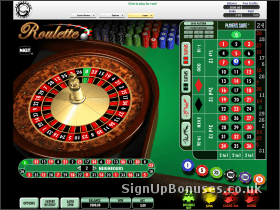 Screenshot of the online roulette interface