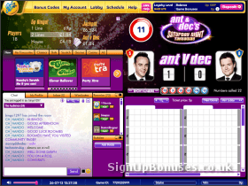 A screenshot of Ant and Dec bingo