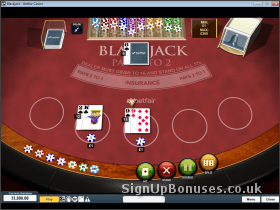 Screenshot of the blackjack playing interface