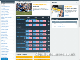 Screenshot of the betting exchange interface