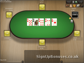 Screenshot of a poker table with the last card dealt