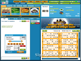 Screenshot of the bingo loby with a ticket purchaser popup