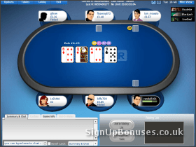 Screenshot of the poker table layout
