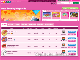Screenshot of the bingo games available to join