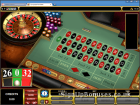 Screenshot of the European Roulette Table Layout