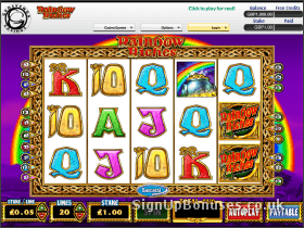Screenshot of the rainbow riches slot game