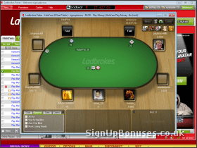 Screenshot of the Poker Table Interface