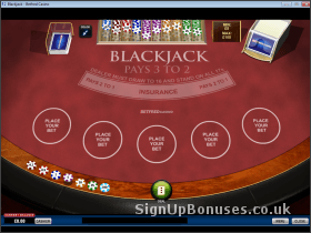Screenshot of a blackjack table with cards ready to deal.