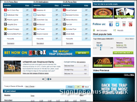 Screenshot of the Greyhound Betting Markets
