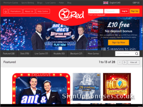 Screenshot of 32Red casino bonuses website